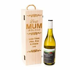 Personalised Engraved Wooden Wine Gift Box Mother's Day Best MUM Prosecco Wine
