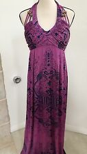 Kouture by Kimora Jersey Long Maxi Dress size XL Purple Halter Beads Embellished