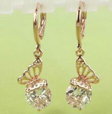 18K ROSE GOLD PLATED HOOP BUTTERFLY CZ CRYSTAL DROP DANGLE EARRINGS
