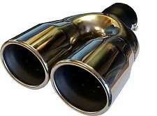 "6.35""/170mm Chrome Silver, Stainless Steel, Twin Exit, CLIP ON Exhaust Tail Pipe"