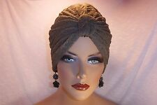 """Chemo/Cancer Turban Stretch Taupe Crinkle Knit """"Something4you"""" Alopecia Hijab"""