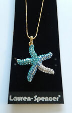 Necklace & Pendant Starfish crystal blue turquoise gold toned chain -lead free