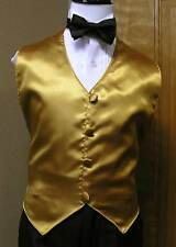 Boys Vest and bowtie Gold Satin (3-8) Party Dance Wedding Formal Tuxedo tie