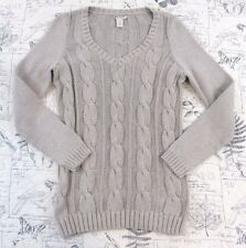 Anthropologie WHITE AND WARREN cable Knit Long cotton v neck Sweater Medium M