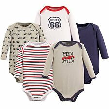 NEW Luvable Friends (5) LONG SLEEVE BODYSUITS One Piece Baby Boy 6-9 Months Cars