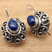 Natural LAPIS LAZULI Birthstone Jewelry ! 925 Silver Overlay ETHNIC Earrings NEW