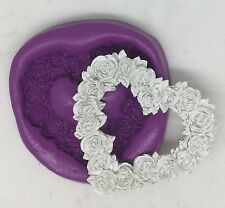 Rose heart  silicone mould (cupcake.shabby chic.vintage.wedding.love.cake )