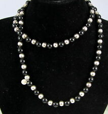 Tiffany & Co Vintage Rare Sterling Silver Black Onyx Bead 31 Inch Long Necklace