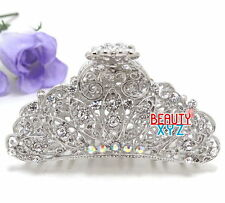 New woman Large metal silver WHITE bling paisley claw clip medium thick hair