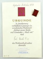 #e3414 Urkunde mit Abzeichen 1977 Mach mit! Nationale Front der DDR Lichtenberg
