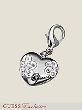 NWT GUESS SIlver Heart Charm w/Flowers & Logo, Exclusive Line