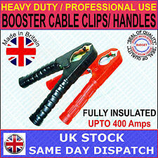 BOOSTER CABLE / JUMP LEAD CLIP CLAMP 400 AMP. HEAVY DUTY PROFESSIONAL USE - PAIR