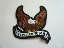 Adler, Ride To Live, parche, Patch, badge, Biker, aufbügler, Iron On, marrón