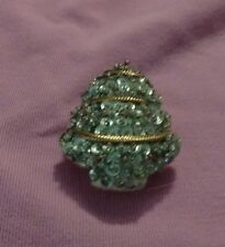 """Large VINTAGE  HAND MADE SEQUIN CHRISTMAS TREE PIN BROOCH STUFFED 21/2"""" x 1 3/4"""