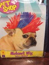 Mohawk/Punk Rock Wig Halloween Costume For Dogs M/L Red And Blue