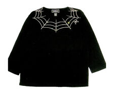 3X 24/26 HALLOWEEN SPIDER WEB ART DESIGN TERAZZO WOMENS COTTON KNIT TOP OPTION