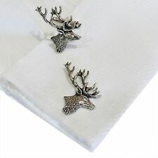 Scottish Stag English Pewter Cufflinks .Xmas Gift.Hunting Animal Antler Shooting