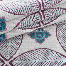 White Teal Pink Leaf Medallion Design Soft New Woven Chenille Upholstery Fabric