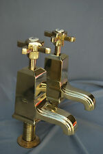BASIN TAPS ART DECO ANTIQUE BRASS BATHROOM TAPS RECLAIMED & FULLY REFURBISHED