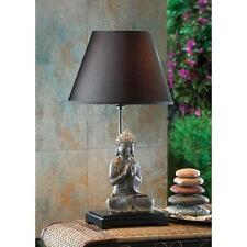 Pair of (2) Serene BUDDHA TABLE LAMP Light DORM BABY BEDROOM FABRIC SHADE Desk