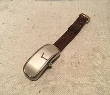 Maurice Guerdat Vintage Silver Modernist Curved Elongated Wind Up Mens Watch