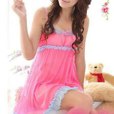 Fashion Women Lace lingerie Sleepwear Nightwear + G-string Babydoll Nightdress