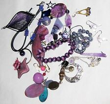 Multicolor Purple Beads Buttons Metal Jewelry for Parts & Repairs - 1/4 lb