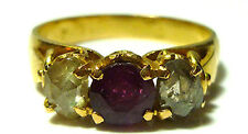 ANTIQUE OLD ASIAN CHINESE EXPORT CHINA 22K GOLD ROSE CUT DIAMOND RUBY RING BAND