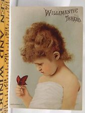 Willimantic Sewing Machine Thread Cute Child Holding Butterfly F38
