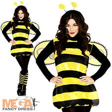 Bumble Bee + Wings Ladies Fancy Dress Animal Insect Bug Womens Costume Outfit