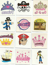 50 PIRATE AND PRINCESS TEMPORARY CHILDRENS TATTOOS PARTY LOOT BAG PINATA FILLERS