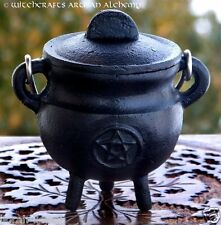 BLACK PENTACLE Small Cast Iron Cauldron Incense Burner Censer Wiccan Pagan