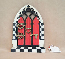Alice in Wonderland inspired Handpainted Glitter Fairy door with White Rabbit