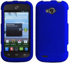 BLUE RUBBERIZED PROTEX HARD CASE PROTECTOR COVER FOR ZTE SAVVY Z750C PHONE