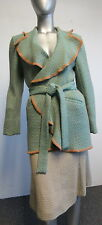 MISSONI wool aqua & caramel tweed geo- print belted knit skirt suit sz 6/8