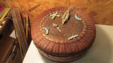 Antique Chinese Sewing Basket Beads Brass Coin No. 45