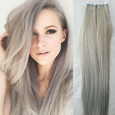 "NEW 20Pcs Virgin Human Hair Tape-in skin Straight Long Hair Extensions 20"" Grey"