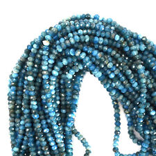 """5mm faceted blue apatite rondelle beads 16"""" strand"""