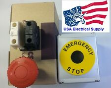 Red SignEmergency Stop Push Button Housing 1NO 1NC 110/250VAC 10A