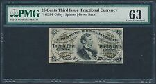 Fr1294 3Rd Issue Green Back 25¢ Fractional Currency Pmg 63 Choice Unc Bt3359