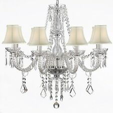 CRYSTAL CHANDELIER LIGHTING 28X28 FIXTURE 8 LIGHTS PENDANT LAMP WHITE SHADES