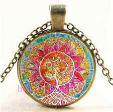 Vintage Mandala om Tree of Life Cabochon Glass Bronze Pendant  Necklace