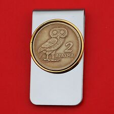 1973 Greece 2 Drachma Athena's Owl Coin Gold Silver Two Toned Money Clip NEW