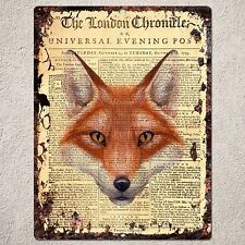 PP0235 Rust Vintage Animal Fox Sign Home Bar Shop Cafe Room Interior Decoration
