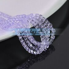 100pcs 4mm Cube Square Crystal Glass Loose Spacer Beads Findings Violet