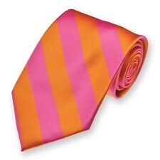 Hot Pink and Orange Woven Diagonally Striped Tie, Popular Color Combo