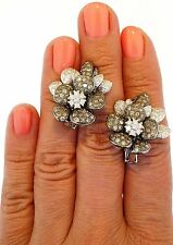 18K White Gold White & Colored Diamond Large Floral Dress Earrings
