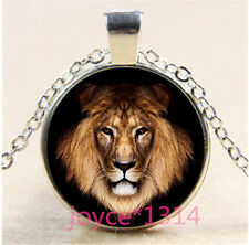 Vintage Lion Cabochon Tibetan silver Glass Chain Pendant Necklace #1284