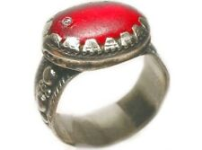 """18thC Antique Russian Crimean Tatar Silver Ring Ruby Red Glass """"Gemstone"""" Size 9"""