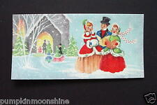 Vintage Unused Xmas Greeting Card Jolly Holiday Carolers Singing